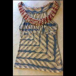 Anthropologie Little Yellow Button Tank Top