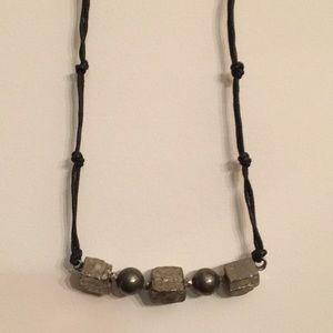 90's Vintage Hematite Stone Necklace