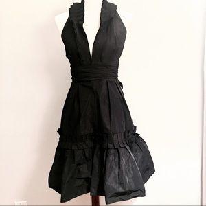 BCBG Black Tafetta Halter Dress A-Line Size 2