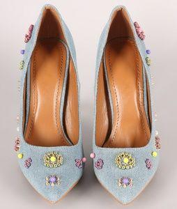 Shoe republic LA denim beadwork pointy toe pump in