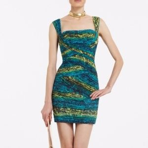BCBG Maxazria Animal Snake Print Tiered Dress