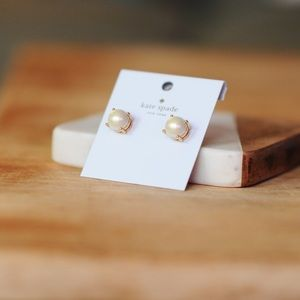 Kate Spade Rose Gold Pearl Gumdrop Earrings
