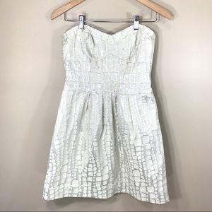 AE Outfitters cream/metallic strapless dress, sz 6