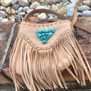Leather Lucky Brand Crossbody Purse with Fringe