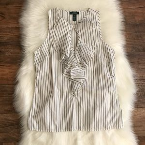 Lauren Ralph Lauren Striped Ruffle Blouse XS