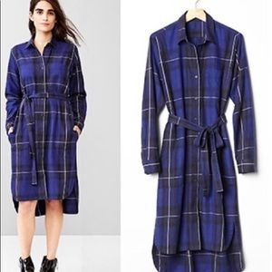 Navy plaid midi shirt dress from Gap with belt