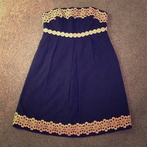 Lilly Pulitzer Betsey Navy Gold Strapless Dress