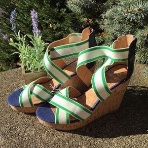 Blue White Green Elastic Strap Cork Wedge Sandals