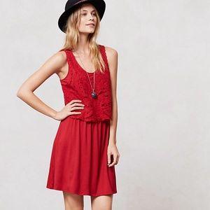ANTHROPOLOGIE Geranium Crochet Red Lace Dress