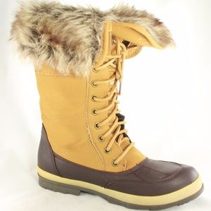 LANE BRYANT Tan Leather Faux Fur Winter Boots