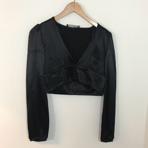 Beautiful Black Zara Trafaluc Crop Size S