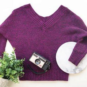 Express Cropped Sweater Heathered Magenta + Black