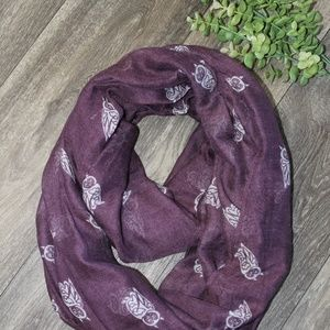 Plum and White Owl Infinity Scarf