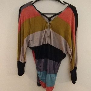 Multi colored blouse with zipoer accent