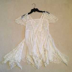 Free People sheer white lace tunic