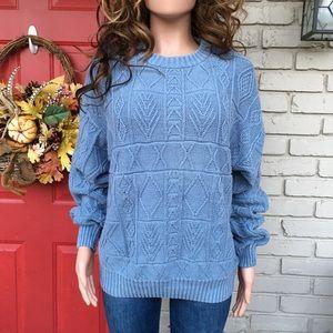 Vintage blue textured sweater