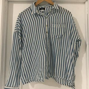 BDG boxy blue and white stripped long-sleeve top