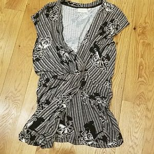 Anthropologie black and white top