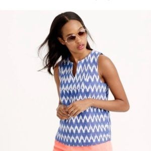 J. Crew notched shell in zigzag ikat