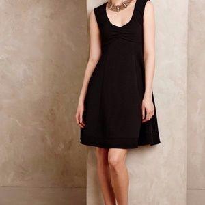 Anthropologie Maeve Fairchild Flared Black Dress