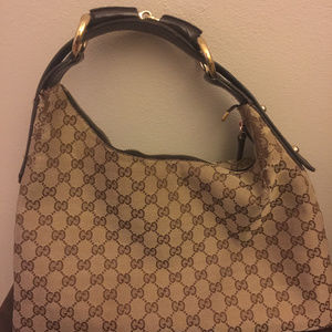 Gucci Brown Canvas and Leather Monogram Horsebit