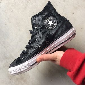 Converse All Star Black Leather High Top ✨🍒