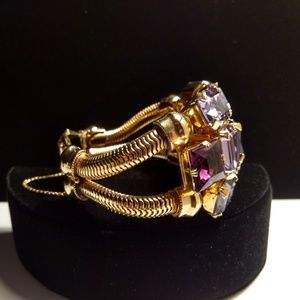 Vtg. Bold & Beautiful Purple Rhinestone Bracelet