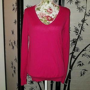 J. Crew hot pink v-neck sweater