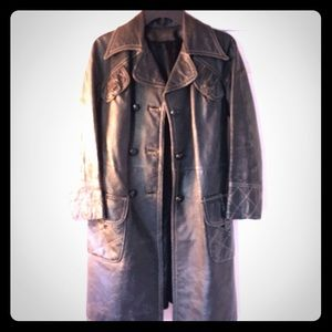 Vintage, funky, real leather, distressed, trench