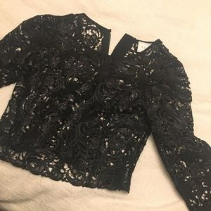 Black cut out crop top from express