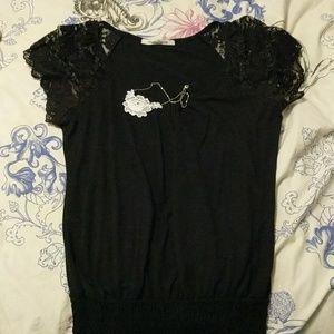 Black lace sleeve shirt