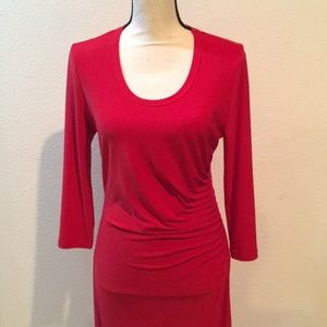 PHILOSOPHY Red Dress w/ Ruching