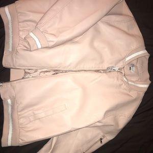 Pink leather bomber jacket