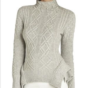 BCBG Maxazria Gray Maylin Cable Turtleneck Sweater