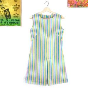 🌈Vintage 60s pastel rainbow striped mini dress🌈