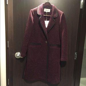 Diane Von Furstenberg red charcoal navy coat. NWT