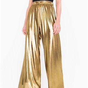 American Apparel Gold Wide Leg Lamé Pants - small