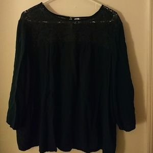 Old Navy 3/4 Sleeve Flowy Top w/Crochet Detail