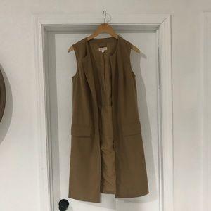 Merona tan long vest |polyester/wool/rayon/spandex