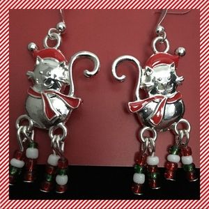 Holiday Cat Silver Tone Earrings