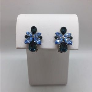 Givenchy Blue Rhinestone Clip-on Earrings