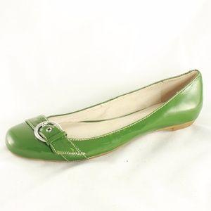 ALDO Green Leather Low Heel Buckle Flats