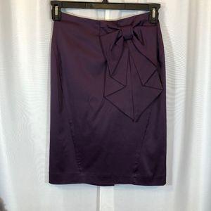 H&M Purple Satin Pencil Skirt Bow Accent, Size 4
