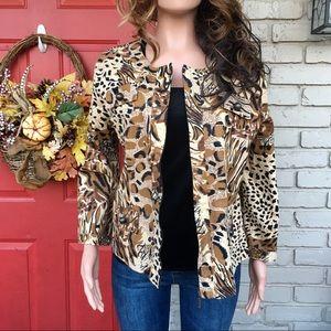 Tiger Cheetah zip front jacket