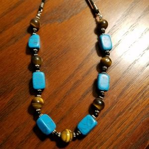 Lia Sophia turquoise and brown necklace