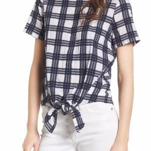 Madewell Plaid Tie Front Blouse
