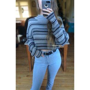 🍂 90's Essential Striped Turtleneck Crop Sweater