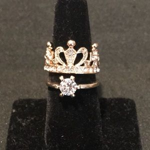 Jewelry - 2 PIECE GOLD & CRYSTAL CROWN RING SET