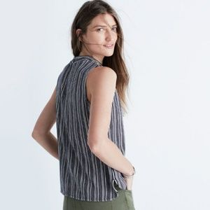 Madewell striped Mockneck tank top