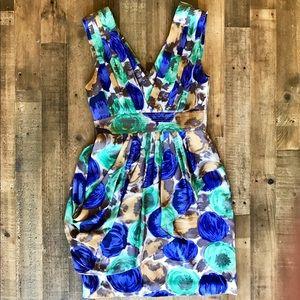 BCBG Max Azria Watercolor Silk Floral Dress Sz 6